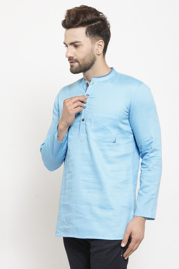 Men's Blended Cotton Short Kurta in Sky Blue
