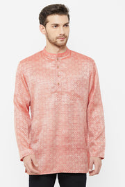 Men's Blended Cotton Short Kurta in Marron