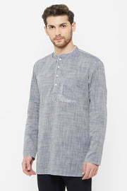 Men's Blended Cotton Short Kurta in Grey