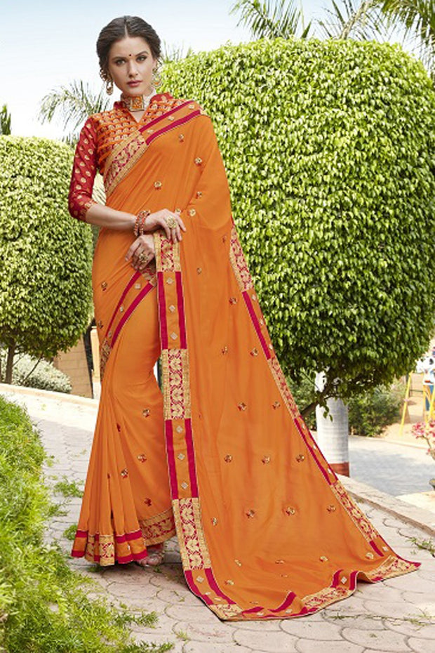 Faux Georgette Saree in Orange