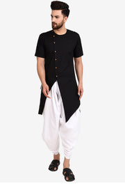 Men's Blended Cotton Kurta Set in Black