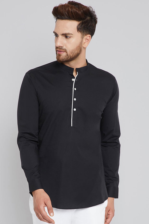 Men's Blended Cotton Kurta in Black
