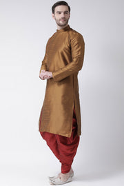 Men's Dupion Art Silk Kurta Set in Brown