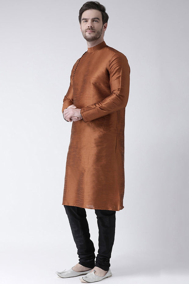 Men's Dupion Art Silk Kurta Set in Dusty Rust