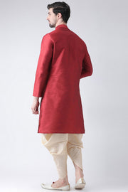 Men's Dupion Art Silk Kurta Set in Red
