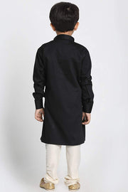 Boy's Blended Cotton Kurta Set in Black