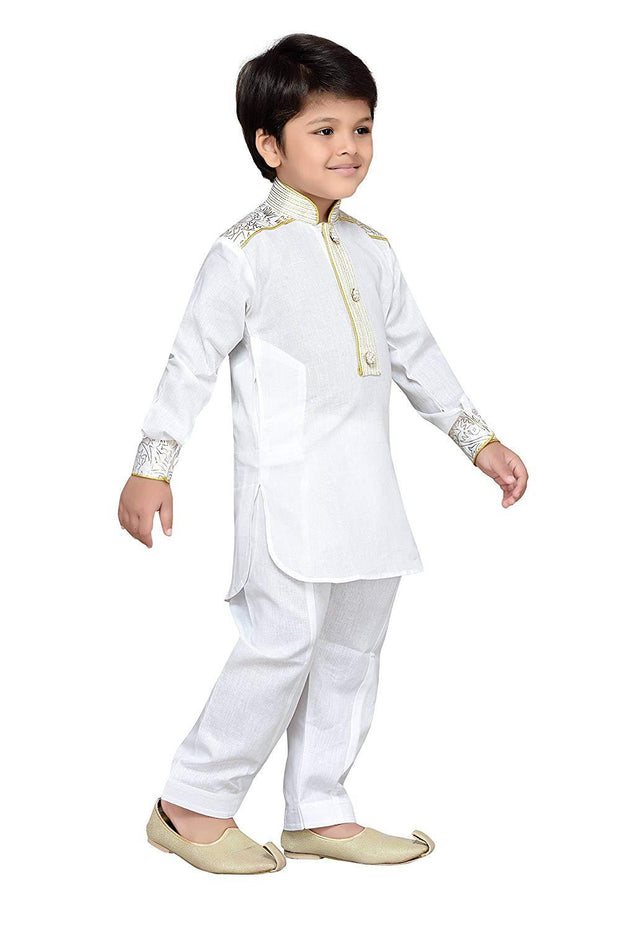 Boy's Blended Cotton Pathani Suit in White