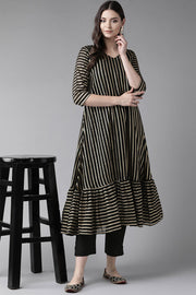 Faux Georgette Gold Striped Print Kurta Set in Black