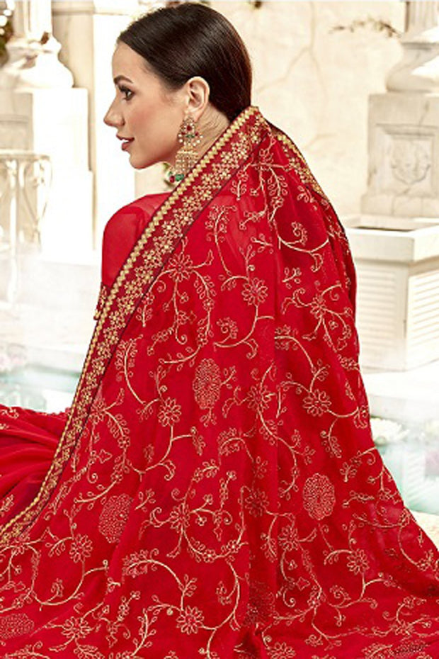 Faux Georgette Saree in Red