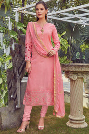 Art Silk Embroidered Dress Material in Light Pink