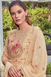 Art Silk Embroidered Dress Material in Cream
