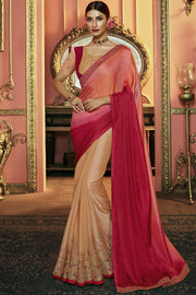 Art Silk Embroidered Saree in Multicolor