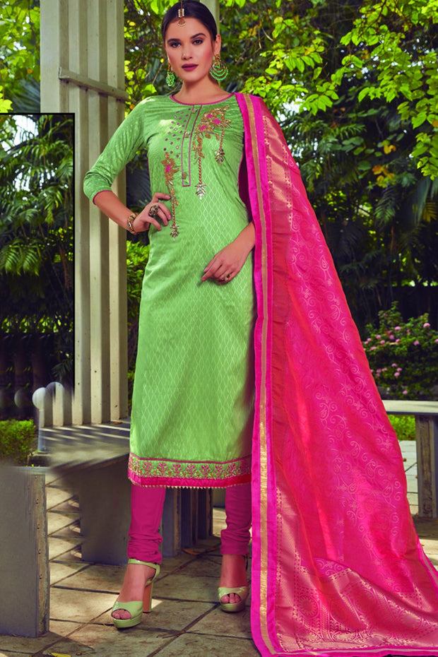 Blended Cotton Embroidered Dress Material in Light Green