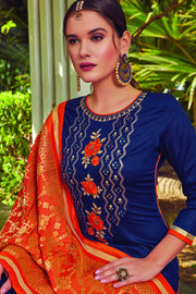Blended Cotton Embroidered Dress Material in Blue