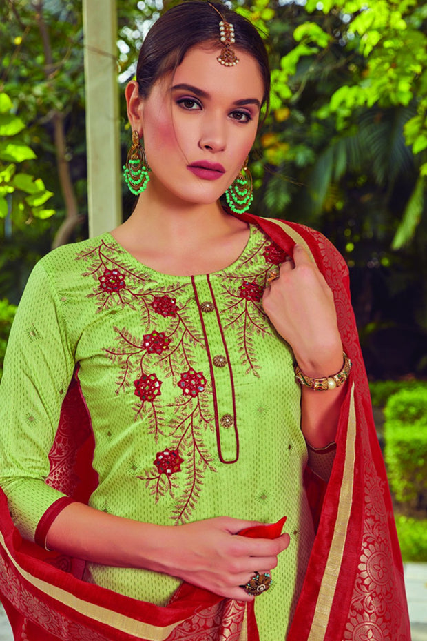 Blended Cotton Embroidered Dress Material in Green