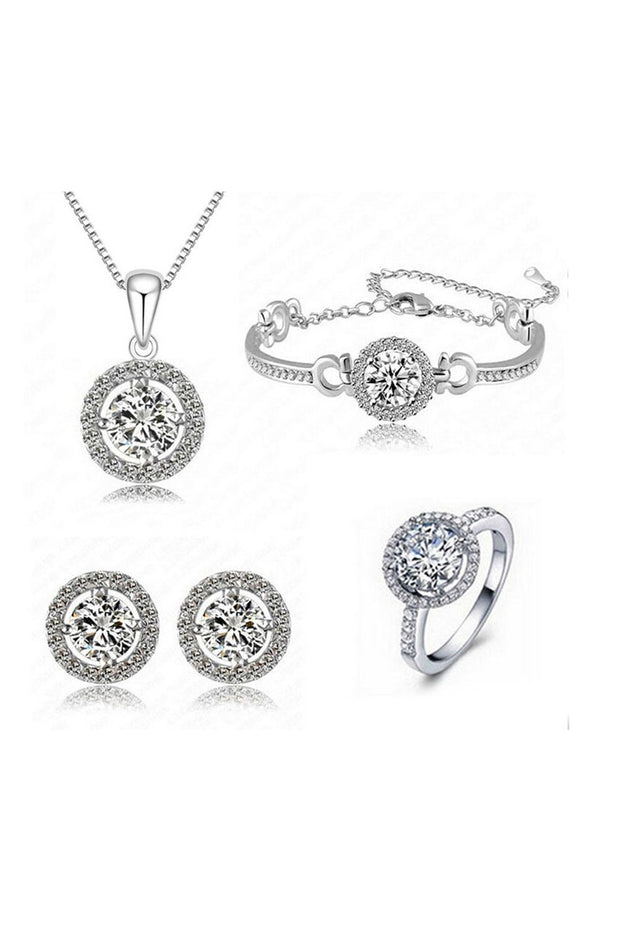 Women's Alloy Combo Necklace Set in Silver