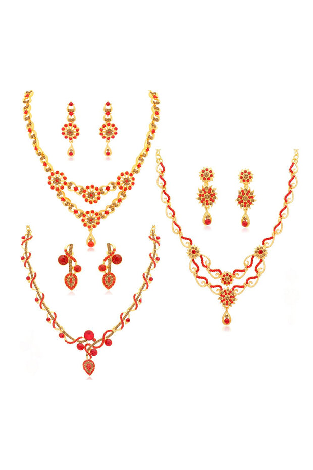 Women's Alloy Combo Necklace Set in Red and Brown