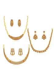 Women's Alloy Combo Necklace Set in Brown