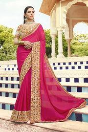 Faux Georgette Saree in Pink