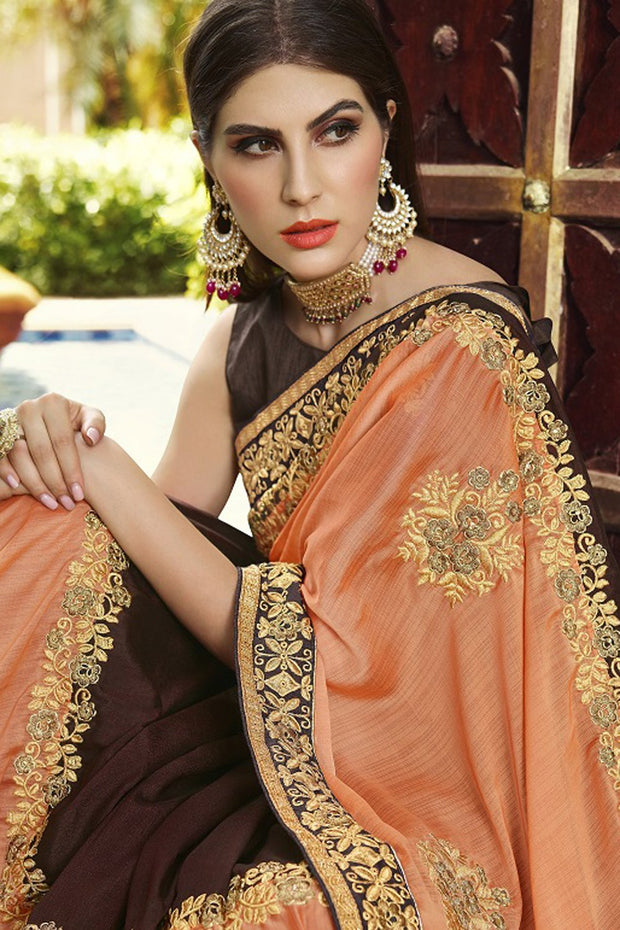 Faux Georgette Saree in Brown and Orange