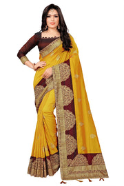 Vichitra Art Silk Saree in Yellow