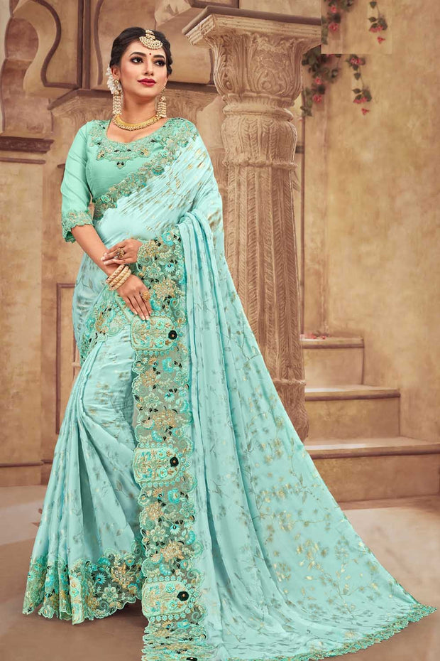 Satin Georgette Saree in Light Blue