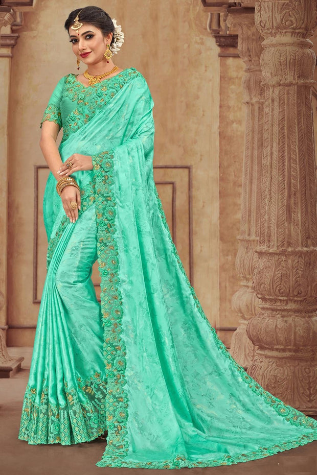 Satin Georgette Saree in Green