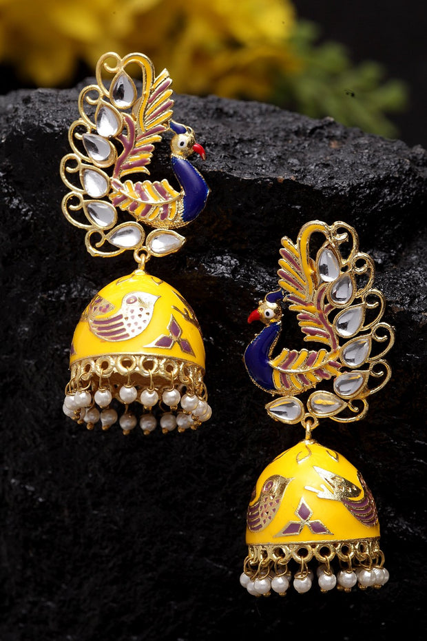 Women's Copper Jhumka Earrings in Yellow