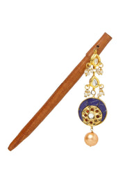 Women's Wood Hair Stick in Blue