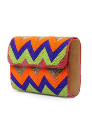 Women's Velvet Hand bag in Orange and Blue