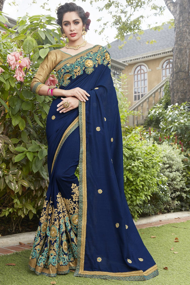 Faux Georgette Saree in Blue
