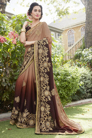 Faux Georgette Saree in Brown