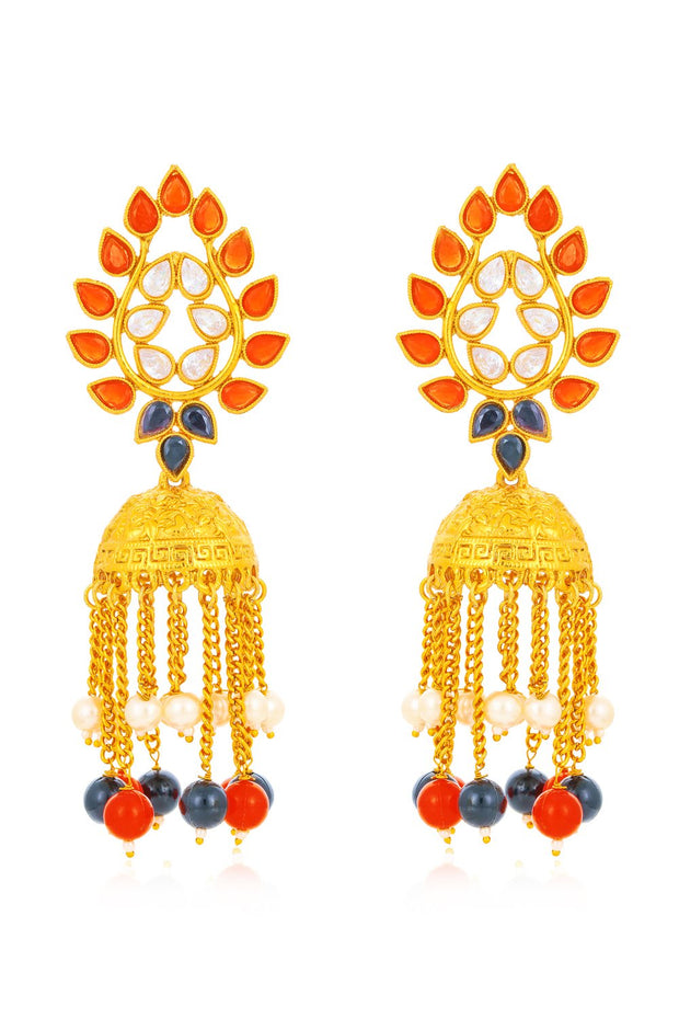 Women's Alloy Jhumka Earrings in Red and Blue