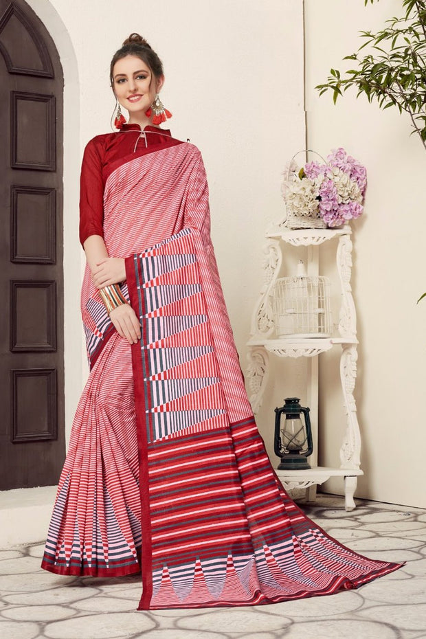 Art Silk Printed Saree in Red and White