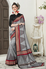 Art Silk Printed Saree in Grey and Red