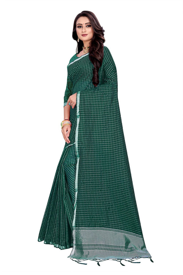 Blended Cotton Saree in Dark Green