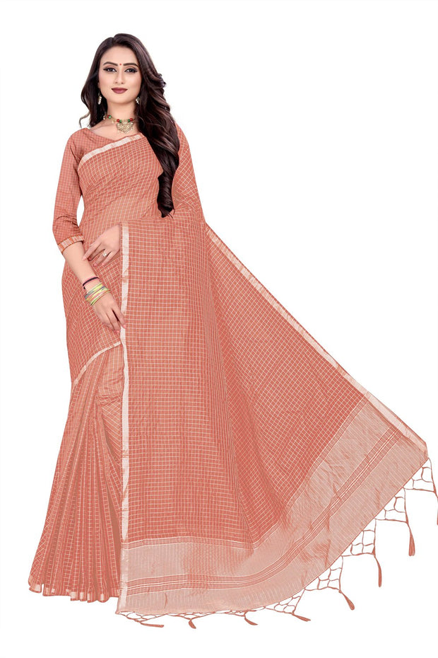 Blended Cotton Saree in Peach