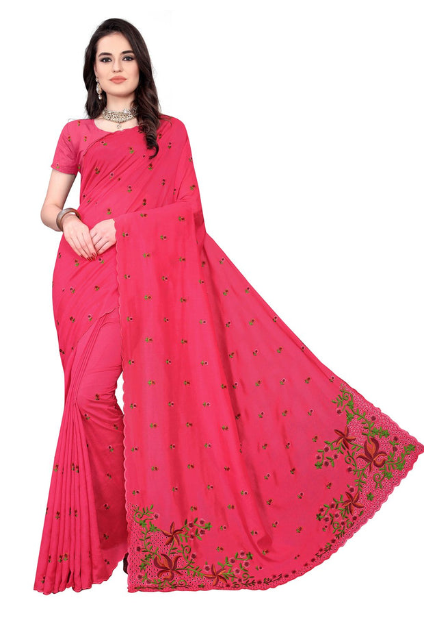 Vichitra Art Silk Saree in Pink