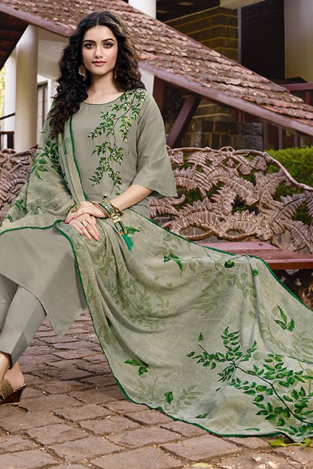 Art Silk Embroidered Top Set in Green