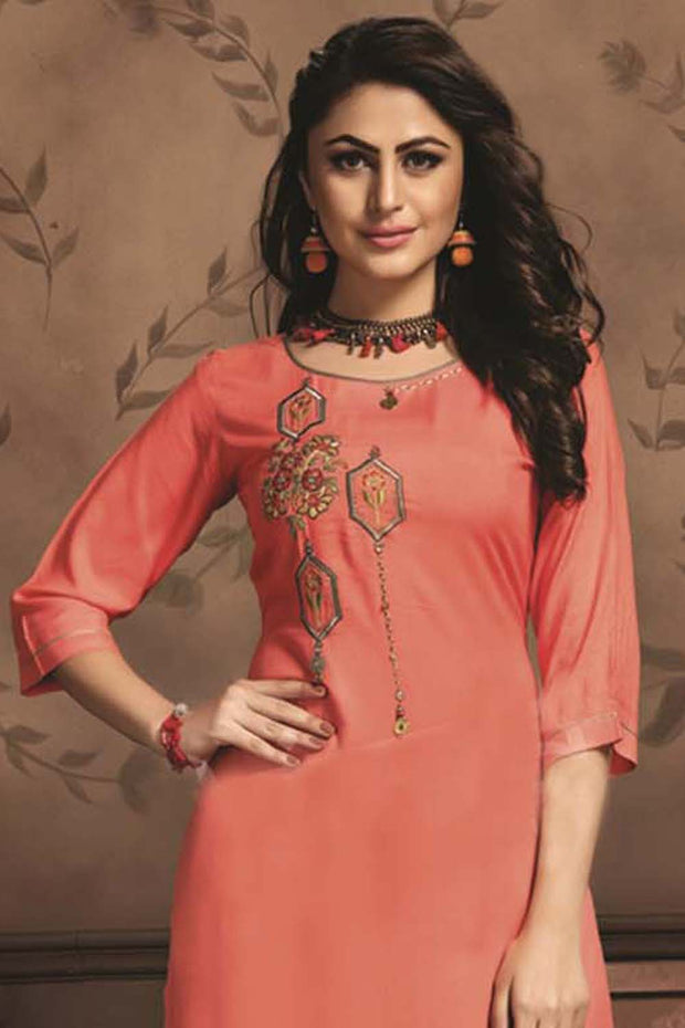 Rayon Embroidered Kurti Set in Dark Peach