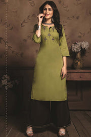 Rayon Embroidered Kurti Set in Olive