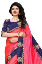 Paper Art Silk Saree in Pink