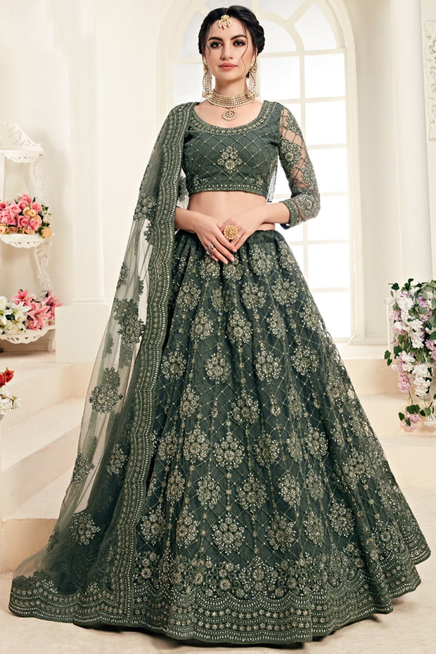 Net Embroidered Lehenga Choli in Dark Green