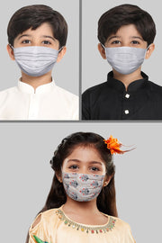 Kids Cotton Blend Face Mask in White