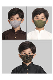 Kids Cotton Blend Face Mask in Green