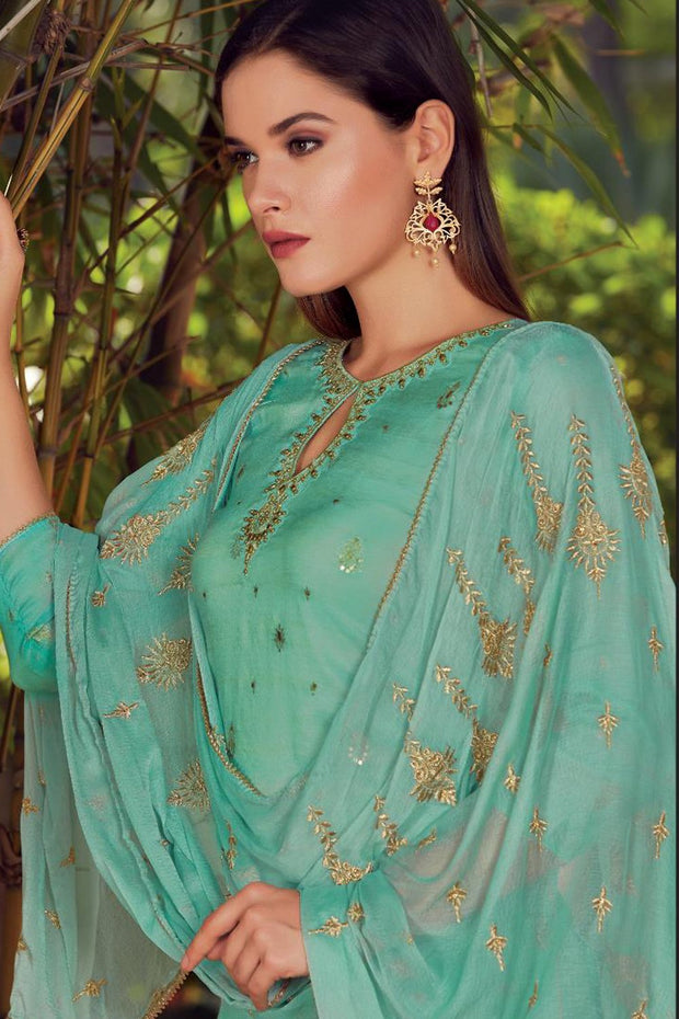 Art Silk Embroidered Dress Material in Turquoise