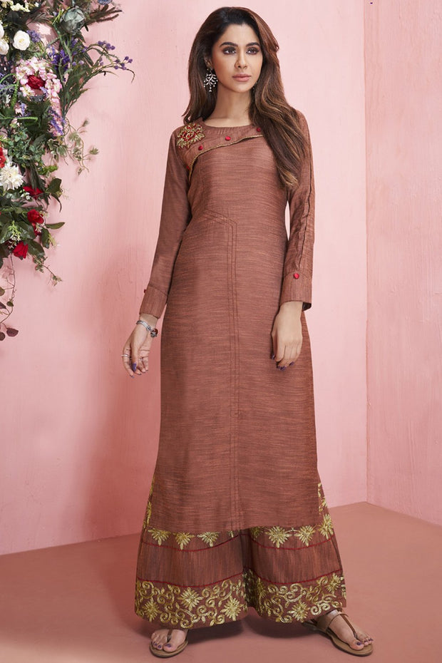 Rayon Embroidered Kurti Set in Brown