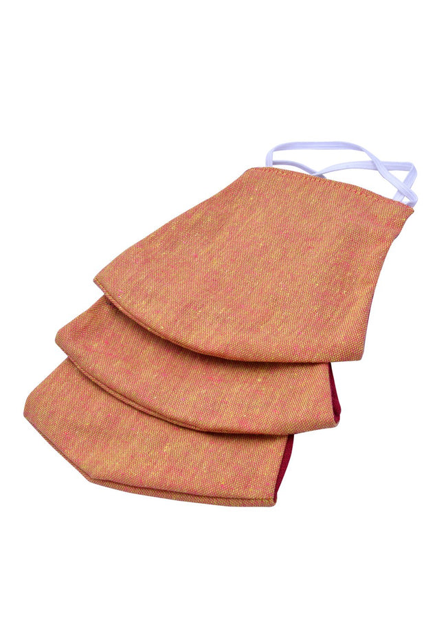 Kid's Cotton Plain Mask in Brown and Maroon