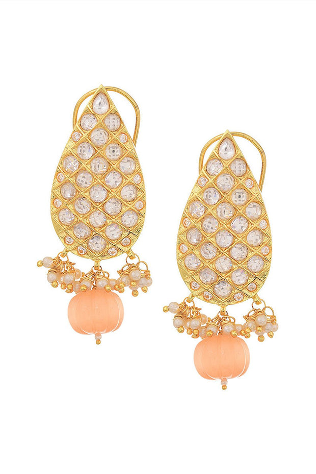 Women's Alloy Large Dangle Earrings in Peach