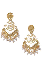 Women's Alloy Chandbali Earrings in Pearl